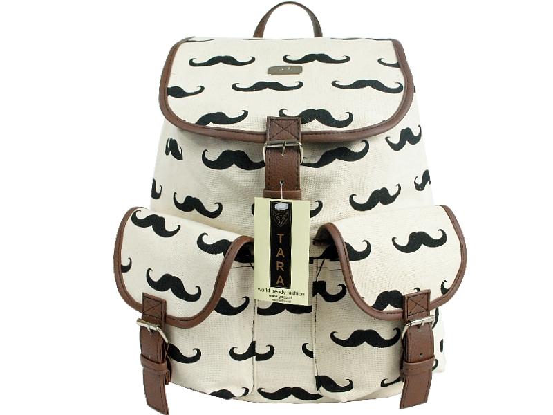 Módní Univerzální Batoh Vintage A4 - Mustache Knír - bily - Eshop ... 4b2a07e0aa