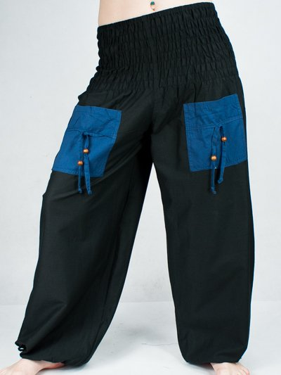 Turecké kalhoty - Aladinky - Haremky - Pumpy (černo-modra)  ALL0024 ... 4e5b5adcca