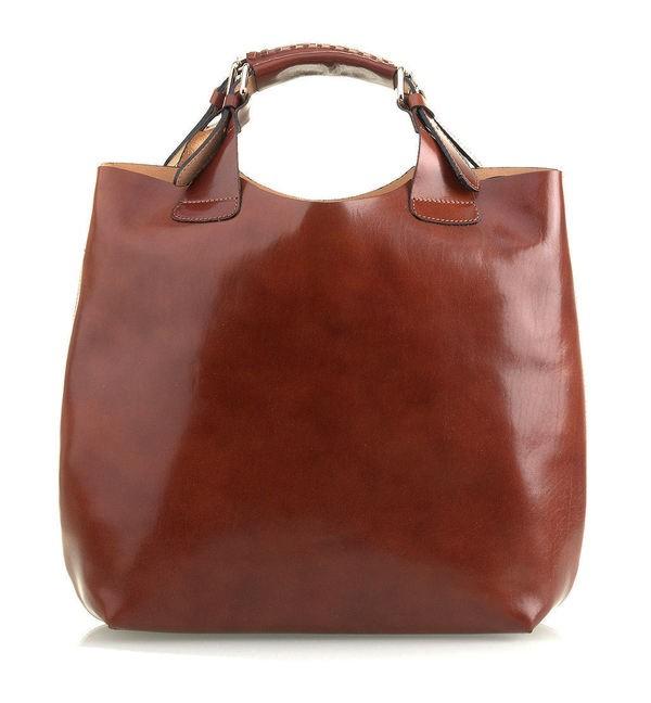 6d7ff7a2f9 Luxusní Italská Kožená Kabelka Shopper Bag Vera Pelle - TM.HNĚDÁ ...