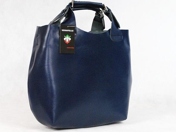 9e567d2ca6 Luxusní Italská Kožená Kabelka Shopper Bag Vera Pelle - TM.MODRÁ ...