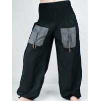 Turecké kalhoty - Aladinky Haremky Pumpy Sultánky - černo-šedé 0b3b1ff8b9